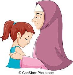dochter, haar, moslim, illustratie, het koesteren, moeder