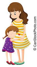 dochter, het koesteren, haar, moeder