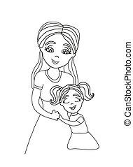 dochter, het koesteren, haar, mom.