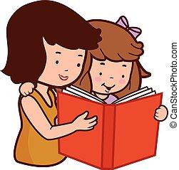 dochter, illustratie, vector, book., moeder, lezende