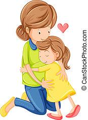 dochter, liefde, moeder