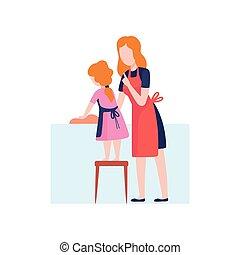 dochter, moeder, uitgeven, vaat, samen, wassen, vector, illustratie, mamma, tijd, thuis, onderwijs, geitje
