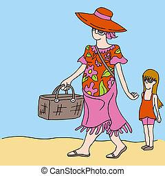 dochter, picknick, moeder