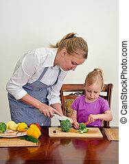 dochter, voedsel., holle weg, het bereiden, moeder, knife., broccoli