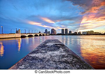 Dock and the City - Dock and skyline at West Palm Beach,...
