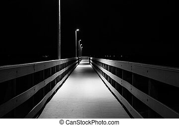 Dock at night Black and White