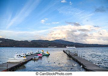 dock at Yamanaka lake, Yamanashi, Japan