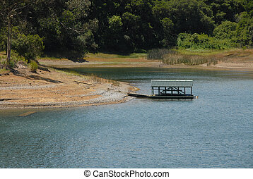 Boat dock on Crystal Springs Reservoir, San Mateo County, California