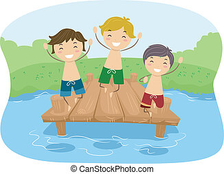 Dock Boys - Illustration of Kids Playing in a Dock