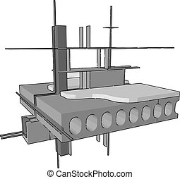 Dock building, illustration, vector on white background.