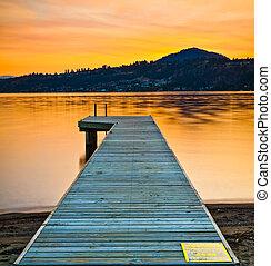 dock, coucher soleil, lac, bateau
