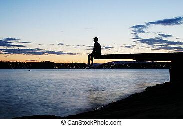 dock, crépuscule