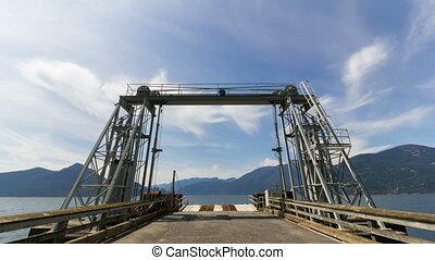 dock, défaillance, nuages, ferry-boat, temps