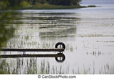 dock, et, pneu, refléter