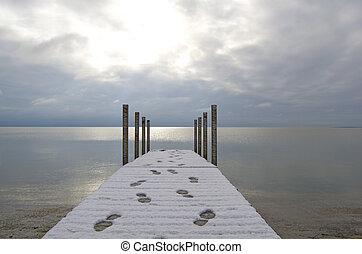 Dock, Footprints, Breaking Sun