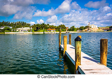 Dock in Collins Canal in Miami Beach, Florida.