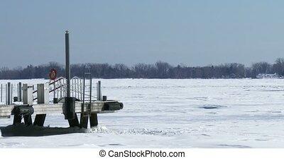 Dock on frozen lake Ontario