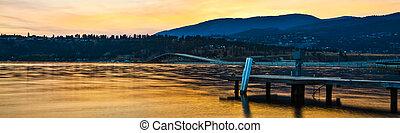 Dock on Mountain lake at Sunset