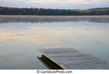 Dock on peaceful lake