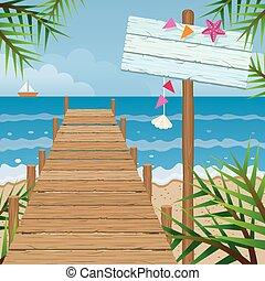 Dock on the Beach with Wood Sign - Summer Beach, Sea, Sand,...