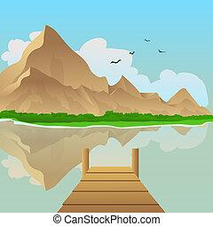 Dock on the lake - Summer landscape vector illustration with...