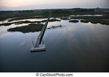 Aerial view of boat dock and walkway over marsh at Bald Head Island, North Carolina.