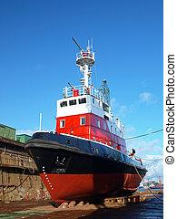dock, rouges, bateau