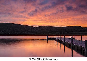 Dock Sunrise - sunrise at Watson Lake, Prescott