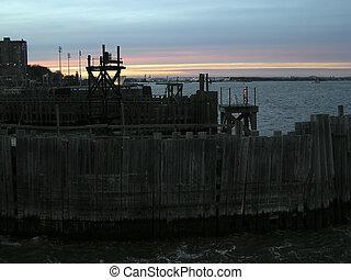 dock sunset on New York