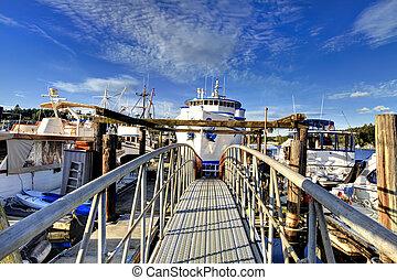 Dock view with boats, Tacoma, WA
