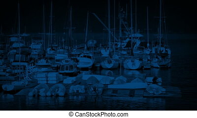 Dock With Lots Of Sailing Boats At Night