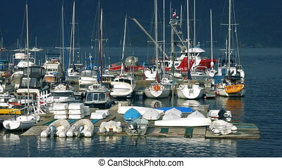 Dock With Lots Of Sailing Boats - Dock with yachts and other...
