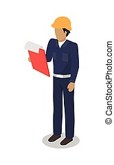 Dock Worker man with Clip Board Makes Inspection