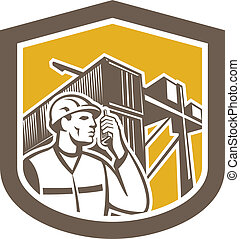Dock Worker on Phone Container Yard Shield
