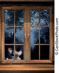 docka, spöke, in, disig skog