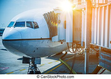 Docked Airplane Jet Bridge - Docked Airplane Boarding Time....