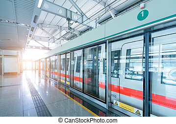 Shanghai Metro - Docked at the site of the Shanghai Metro, ...