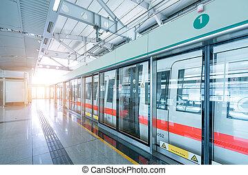 Shanghai Metro - Docked at the site of the Shanghai Metro,...