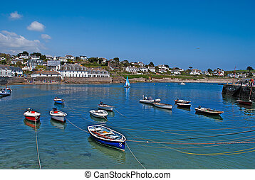 Docked Boats. - Boats docked in the harbour at St Mawes...