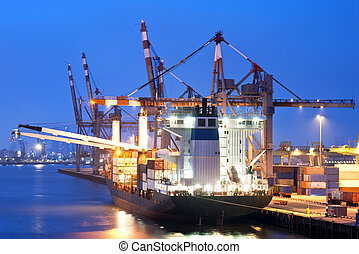 Docked Cargo ship - Big container ship, moored off at the...