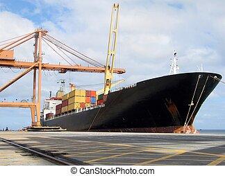 Docked ship - Cargo ship docked in port