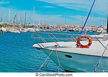 docked - boat hull docked in Alghero harbor
