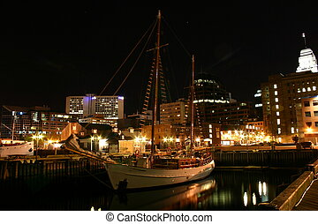 Docked Vessel in the Dark - Nightshot of docked vessel