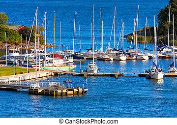 Docked yachts in Helsinki, Finland - Docked yachts in...