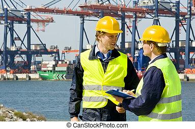 dockers, en, un, contenedor, puerto