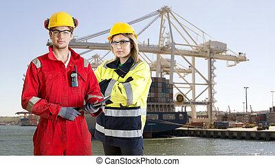 dockers, posierend, vor, a, containerschiff