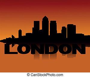 Docklands skyline at sunset