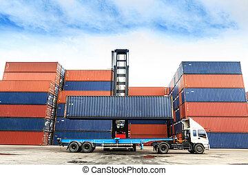 docks, camion, récipients