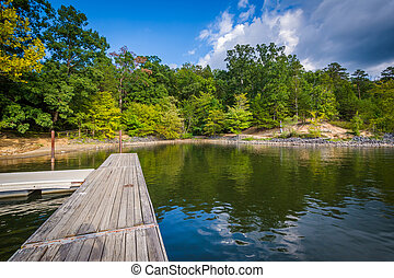 Docks in Lake Wylie, at McDowell Nature Preserve, in...