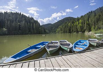 docks, lac, bateau